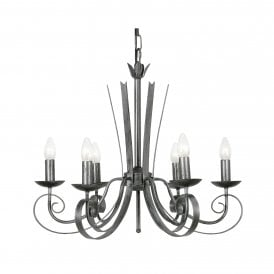 8121/6 BS Arundel 6 Light Ceiling Pendant In Black Brushed Silver Finish