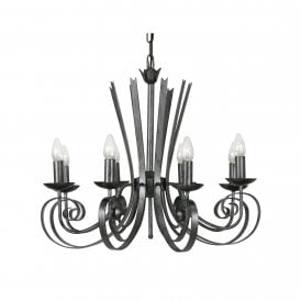8121/8 BS Arundel 8 Light Ceiling Pendant In Black Brushed Silver Finish