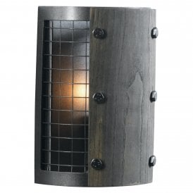 8137 WB RU Harkin Single Light Wall Fitting In Rust Coloured Finish With Wood Detail