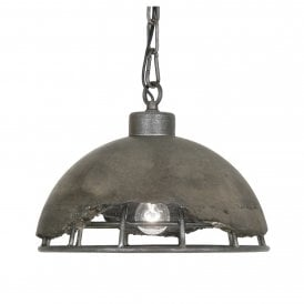 8812/1 CC Kellen Single Light Ceiling Pendant In Concrete Finish