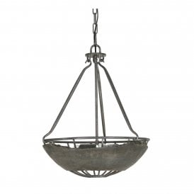 8812/3 CC Kellen 3 Light Inverted Ceiling Pendant In Concrete Finish
