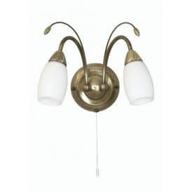 Antwerp 2 Light Wall Fitting in Antique Brass Finish