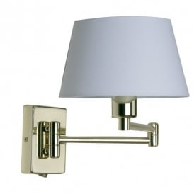 Armada Single Light Double Swing Arm Switched Polished Brass Wall Fitting