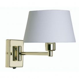 Armada Single Light Swing Arm Switched Wall Fitting In Polished Brass Finish