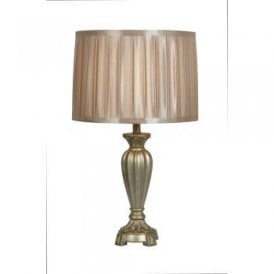 Arriate Single Light Table Lamp In Gold Finish With Gold Faux Silk Pleated Shade