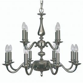Aylesbury 12 Light Ceiling Chandelier In Satin And Polished Nickel Finish