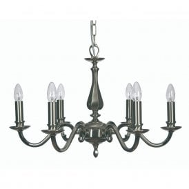 Aylesbury 6 Light Ceiling Chandelier In Satin And Polished Nickel Finish
