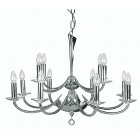Bahia 12 Light Cast Brass Ceiling Fitting Finished In Polished Chrome Plate