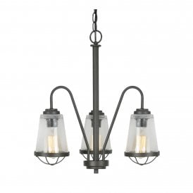 Bodo 3 Light Ceiling Pendant In Black Finish With Clear Glass Shades