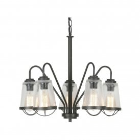 Bodo 5 Light Ceiling Pendant In Black Finish With Clear Glass Shades