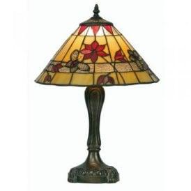 Butterfly Single Light Medium Tiffany Glass Table Lamp With Bronze Base