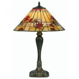 Butterfly Single Light Tiffany Glass Table Lamp With Bronze Base