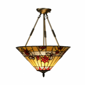 Butterfly Single Light Tiffany Uplighter Ceiling Pendant With Bronze Fitting