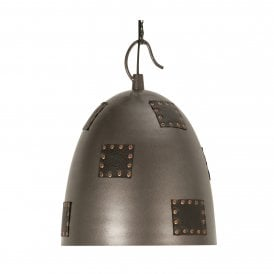 Callisto Single Light Large Ceiling Pendant With Metal Shade And Studded Leather Detail