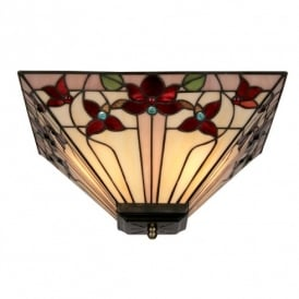 Camillo Tiffany Ceiling Uplighter with Red Flowers
