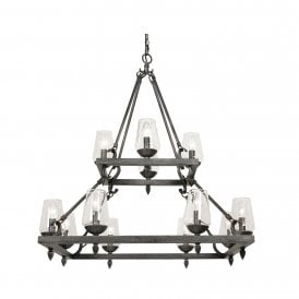 Corfe 12 Light Ceiling Pendant In Silver Brushed Black Finish With Clear Glass Shades