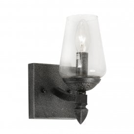 Corfe Single Light Wall Fitting In Silver Brushed Black Finish With Clear Glass Shades