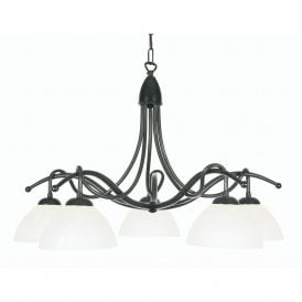 Country 5 Light Ceiling Pendant In Black Gold Finish