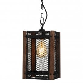 Dagny Single Light Ceiling Pendant In Black And Dark Wood Finish