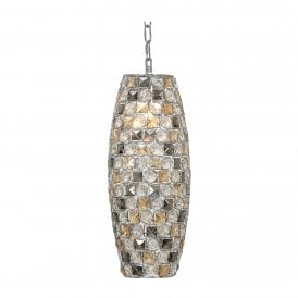 Davoli Cylindrical Single Light Ceiling Pendant In Polished Chrome Finish with Clear Amber & Smoked Glass Beads