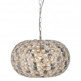 Davoli Oval Single Light Ceiling Pendant In Polished Chrome Finish with Clear Amber & Smoked Glass Beads