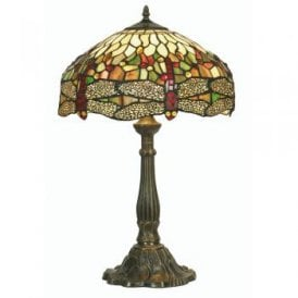 Dragonfly Single Light Large Tiffany Glass Table Lamp