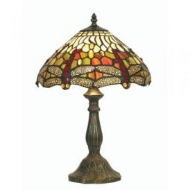 Dragonfly Single Light Medium Tiffany Glass Table Lamp