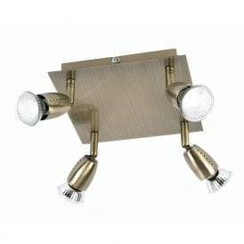 Ecco 4 Light Ceiling Spotlight Fitting In Antique Brass Finish