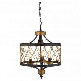Elvar 3 Light Ceiling Pendant In Black And Antique Gold Finish