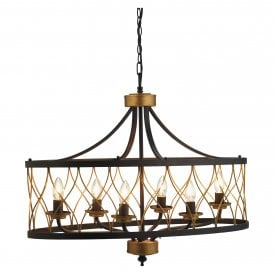 Elvar 6 Light Ceiling Pendant In Black And Antique Gold Finish