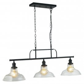 Esko 3 Light Bar Ceiling Pendant In Silver Brushed Black Finish With Clear Glass Shades