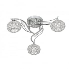 Esmee 3 Light Semi Flush Ceiling Fitting In Polished Chrome And Crystal Finish