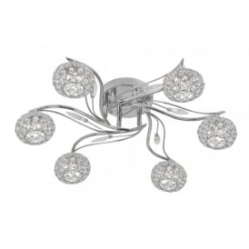 Esmee 6 Light Flush Ceiling Fitting In Polished Chrome And Crystal Finish