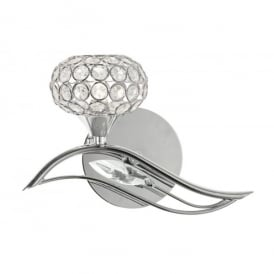 Esmee Single Light Wall Fitting In Polished Chrome And Crystal Finish With Shade to Left
