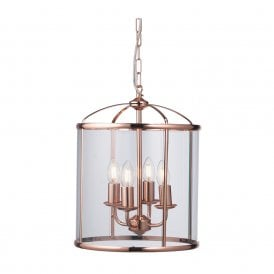 Fern 4 Light Ceiling Lantern in Copper Finish