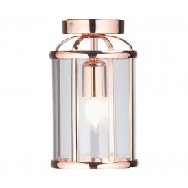 Fern Single Light Semi-Flush Ceiling Fitting in Copper Finish