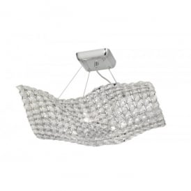 Glitter 4 Light Halogen Ceiling Pendant In Polished Chrome And Crystal Finish