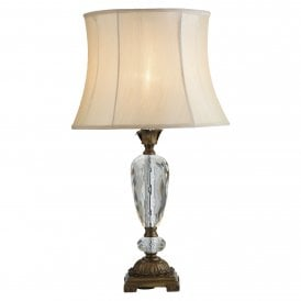 Hakon Single Light Table Lamp In Antique Gold And Clear Glass Finish with Cream Shade