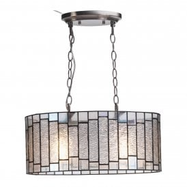 Iras 2 Light Oval Ceiling Pendant with Tiffany Style Shade