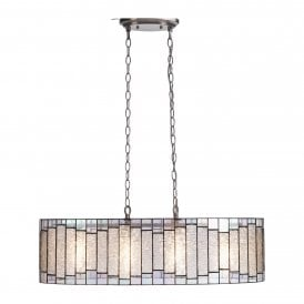 Iras 4 Light Large Oval Ceiling Pendant with Tiffany Style Shade