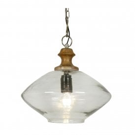 Jalpur Single Light Ceiling Pendant In Chrome Finish With Clear Glass Shade And Wood Detail