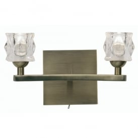 Kane 2 Light Halogen Wall Fitting In Antique Brass Finish With Clear Glass Shades