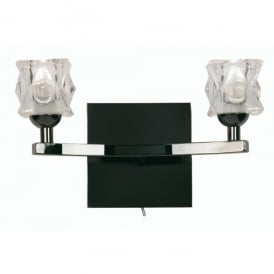 Kane 2 Light Halogen Wall Fitting In Mirror Black Finish With Clear Glass Shades