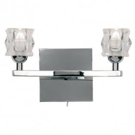 Kane 2 Light Halogen Wall Fitting In Polished Chrome Finish With Clear Glass Shades