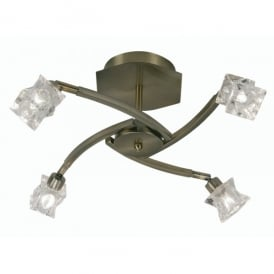 Kane 4 Light Halogen Ceiling Fitting In Antique Brass Finish With Clear Glass Shades