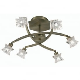 Kane 6 Light Halogen Ceiling Fitting In Polished Chrome Finish With Clear Glass Shades