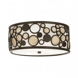 Kati 2 Light Flush Ceiling Fitting In Black Finish With Smoked Panels