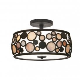 Kati Semi-Flush 3 Light Ceiling Fitting In Black Finish With Smoked Panels