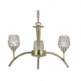 Koge 3 Light Ceiling Multi Arm Chandelier in Antique Brass Finish