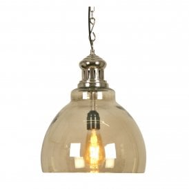 Kota Single Light Ceiling Pendant In Matt Nickel Finish With Antique Silver Tinted Glass Shade